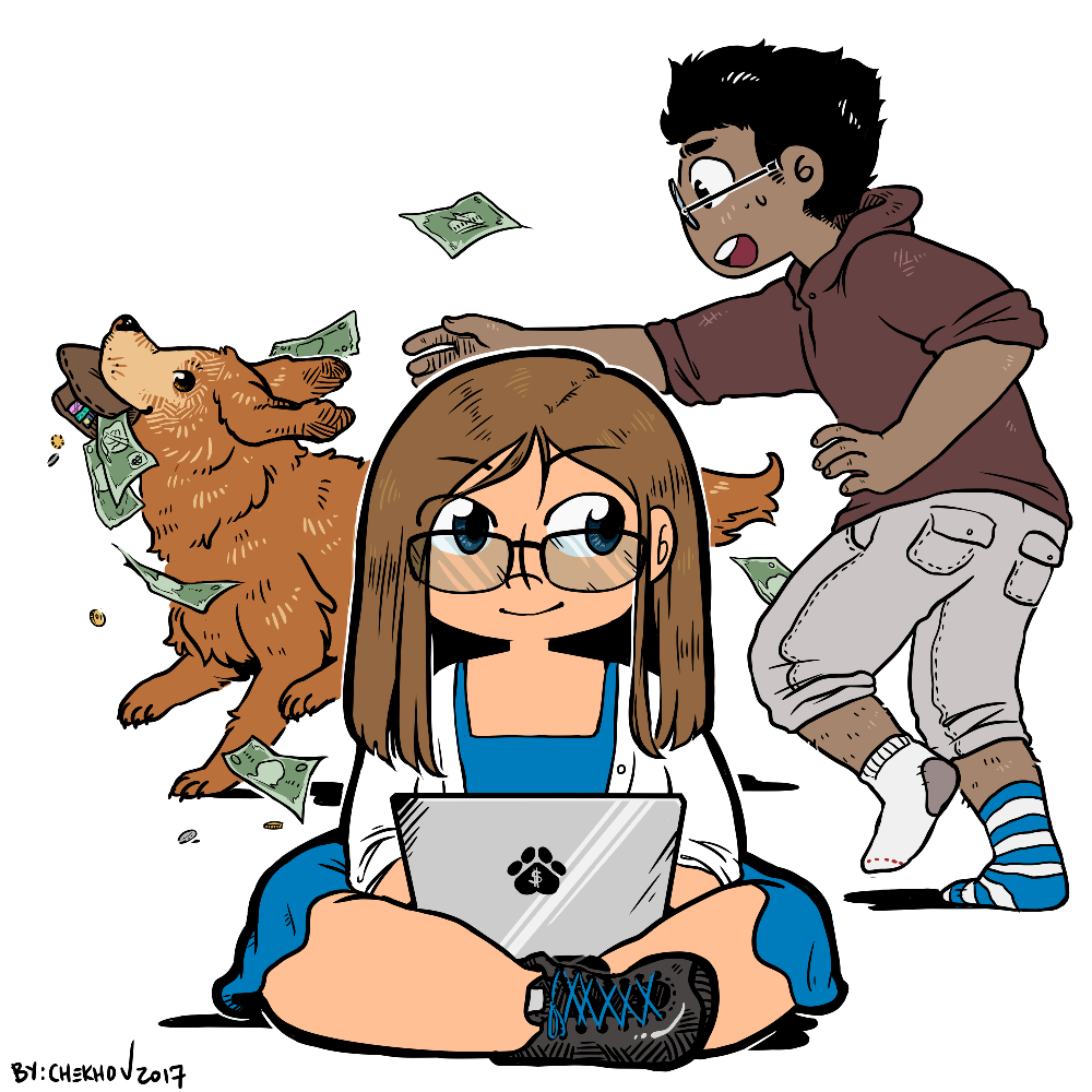 chibi Felicity on a laptop, with Fluffster running off with Fergus's wallet in the background. Money is flying everywhere
