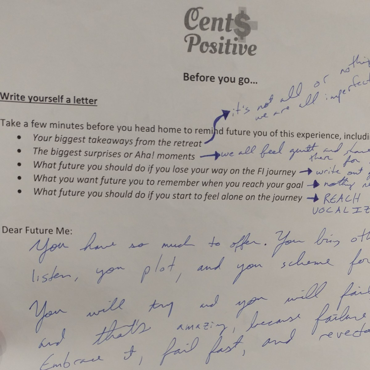 Cents Positive Letter to Future Self